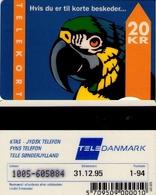 TARJETA TELEFONICA DE DINAMARCA. TDKD033b, Parrot With Text - 1.94 - CN1005 (087) - Dinamarca
