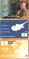 Cyprus - A Century Of Scouting 1907-2007, Scouts Of Cyprus, Set Of 3, Remote Memory, 1/2/3 £, Mint - Cyprus