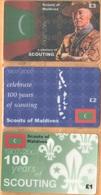 Maldives - A Century Of Scouting 1907-2007, Scouts Of Maldives, Set Of 3, Remote Memory, 1/2/3 £, Mint - Maldives