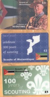Mozambique - A Century Of Scouting 1907-2007, Scouts Of Mozambique, Set Of 3, Remote Memory, 1/2/3 £, Mint - Mozambique