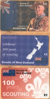 New Zealand - A Century Of Scouting 1907-2007, Scouts Of New Zealand, Set Of 3, Remote Memory, 1/2/3 £, Mint - New Zealand