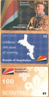 Seychelles - A Century Of Scouting 1907-2007, Scouts Of Seychelles, Set Of 3, Remote Memory, 1/2/3 £, Mint - Seychelles