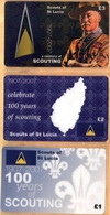 Saint Lucia - A Century Of Scouting 1907-2007, Scouts Of Saint Lucia, Set Of 3, Remote Memory, 1/2/3 £, Mint - Saint Lucia