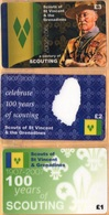 St. Vincent & The Grena - A Century Of Scouting 1907-2007, Scouts Of St. Vincent, Set Of 3, Remote Memory, 1/2/3 £, Mint - St. Vincent & The Grenadines