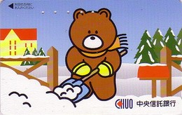 Télécarte Japon / 110-016 - BD Comics - Animal Série OURS CHUO / Déneigement  - Teddy BEAR Japan Phonecard - 541 - Comics
