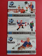 UK - MERCURY - Winter Christmas 88 NATALE 1988 Det Of 3 Cards 8MER A B C - United Kingdom