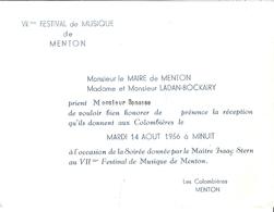 VIIe FESTIVAL DE MUSIQUE DE MENTON -MAITRE ISAAC STERN AUX COLOMBIERES  14 AOUT 1956 - Mappe