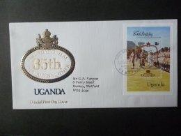 UGANDA 1985 QUEEN MOTHER 85th BIRTHDAY MS FDC - Oeganda (1962-...)