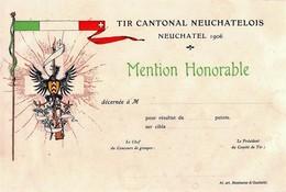 Tir Cantonal Neuchâtel 1906 - Mention Honorable - Vierge - Diplomas Y Calificaciones Escolares
