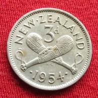 New Zealand 3 Pence 1954 KM# 25.1  Nova Zelandia Nuova Zelanda Nouvelle Zelande - Nouvelle-Zélande