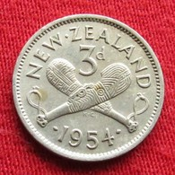 New Zealand 3 Pence 1954 KM# 25.1  Nova Zelandia Nuova Zelanda Nouvelle Zelande - New Zealand