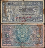 10 DINARA / 40 KRUNA 1919 YOUGOSLAVIE / YUGOSLAVIA - P17 - Jugoslawien