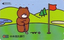 Télécarte Japon / 110-011 - BD Comics - Animal Série OURS CHUO / Sport GOLF - Teddy BEAR  Japan Phonecard - BÄR - 548 - Comics