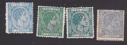 Cuba, Scott #76, 79-80, 85, Mint No Gum/Hinged, King Alfonso XII, Issued 1878-79 - Kuba (1874-1898)