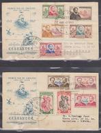 ECUADOR 1949 DON QUIXOTE & CERVANTES FULL SET IN 2 FDC'S TO BARCELONA VIA MIAMI & WASHINGTON SC# 420-524 C202-C206 - Ecuador