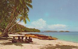 [VD.18] DRAVUNI, Fiji.Villagers, Tokia Canoe. No Circulada, No Escrita. / Non Voyagée, Non écrite. - Fiji