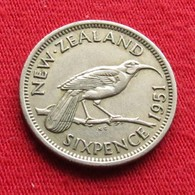 New Zealand 6 Pence 1951 KM# 16  Nova Zelandia Nuova Zelanda Nouvelle Zelande - New Zealand