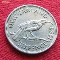 New Zealand 6 Pence 1959 KM# 26.2  Nova Zelandia Nuova Zelanda Nouvelle Zelande - New Zealand