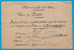 Très RARE Autorisation D'admission Dans Les Trains (Fêtes Pentecôte 1920) 75015 Gare Paris Montparnasse à 28 Courtalain - Transportation Tickets