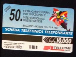 50ima Fiera Campionaria Internazionale , Bolzano- Scheda Telefonica Nuova Bilingue. Lire 10000- Validità 31.12.99. - Italy