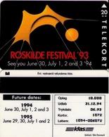 TARJETA TELEFONICA DE DINAMARCA. TDKS016, Roskilde Festival '93, CN1054, TIRADA 10000 (119) - Dinamarca