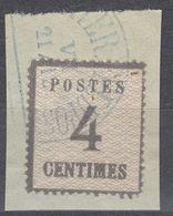 ALSAZIA/LORENA - 1870 - Yvert 3 Usato Su Frammento Di Busta, 4 Cent, Come Da Immagine. - Alsace-Lorraine