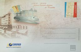 RO) 2009 ARGENTINA, FIRST ELECTRICAL TRAM  - TRAIN -OLD TICKET 1909,  POSTAL CARD  XF - Argentina