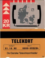 TARJETA TELEFONICA DE DINAMARCA. TDKD026, Map Of Denmark, Telephone Handset - 31.12.92 (099) - Dinamarca