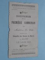 Souvenir De La Première COMMUNION De Madeleine DE WILDE Faite à La Chapelle Dames A ALOST Le 1 JUIN 1903 ( Zie Foto ) ! - Comunión Y Confirmación