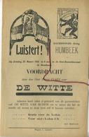 Humbeek  1934 Voordracht Davidsfonds DE WITTE Ernest Claes  (formaat  21x14 Cm) - Announcements