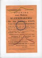 DIEPENBEEK : Opening Eener Moderne Kleermakerij : HUIS Gebroeders KNUTS    Zie Detail   (formaat 24 X16 Cm) - Announcements