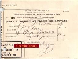 Document Du 02/02/1927 Quête à Domicile Au Profit Des Pauvres - Paris 75 - France