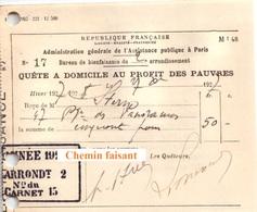 Document Du 27/10/1927 Quête à Domicile Au Profit Des Pauvres - Paris 75 - France