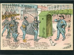CPA - Illustration A. Gaillard - TANKS - La 1re Garde - Humour
