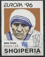 ALBANIA, MOTHER THERESA 1995, USED SOUVENIR SHEET - Albanie