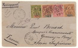 Superbe Lettre De 1902 Avec 4 Timbres Surch NCE De 1901 Dont 1F Such 15c Cote Mini 300 € - Briefe U. Dokumente