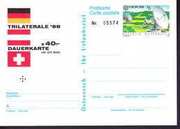 AUTRICHE, ENTIER POSTAL NEUF, TRILATERALE, TYPE TIMBRE EUROPA DE 1988. (35) - Entiers Postaux