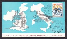 1968 Italia Italy Repubblica Gemellaggio HELSTON  SASSO MARCONI Cartolina N°0022 Town Twinning - Fisica
