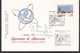 1972 Italia Repubblica STORIA POSTALE Pontecchio Marconi 35° MORTE GUGLIELMO MARCONI Busta  Viaggiata Bologna - 6. 1946-.. Repubblica