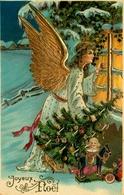 Ange Angelot Angel - Joyeux Noel - Illustrateur - Dorures - Cpa Gauffrée - Jeux Jouets Sapin - AA12 - Anges
