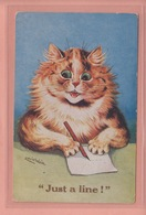 OLD POSTCARD ARTIST SIGNED -  LOUIS WAIN - CAT - JUST A LINE - Wain, Louis