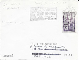 FNISTERE 29 -   QUIMPER -  FLAMME N° QUI 442 S  -CENTRE D'AFFAIRES ..SOURIRE DE LA BRETAGN - 1958  - TP N° 979  = FLAMME - Mechanical Postmarks (Advertisement)