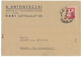 """A132   Italia 1948  Cartolina """"A.ANTONCECCHI Depositi E Rappresentanze Bari"""" - 6. 1946-.. Repubblica"""