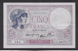 France 5 Francs Violet Type 1917 Modifié - 28-11-1940 - Fayette N° 4-15 - SUP - 5 F 1917-1940 ''Violet''