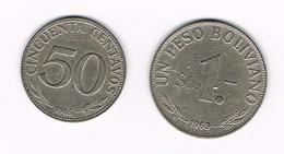 -&   BOLIVIA 50 CENTAVOS +  1 PESO  BOLIVIANO  1965/1969 - Bolivie