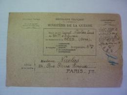 BULLETIN DE SANTE D'UN MILITAIRE En TRAITEMENT, Ministère De La Guerre, HOPITAL TEMPORAIRE 8 Bis SEES   Clas 3 - Marcophilie (Lettres)