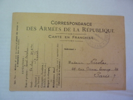 Carte En Franchise Correspondance Aux Armées MILITARIAT  54 Inf. 39 Cie LAVAL    Clas 3 - Marcophilie (Lettres)