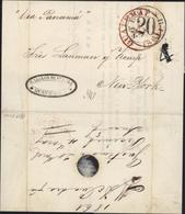 CAD Guatemal 21 3 1861 Pour New York Cachet Commercial Guatemala Taxe Tampon 4 Cachet Steam Ship 20 Via Panama Manuscrit - Guatemala