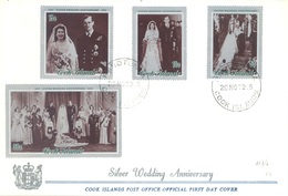 COOK ISLANDS - FDC - 20.11.1972 - SILVER WEDDING ANNIVERSARY - Yv 328-331 - Lot 17616 - Cook