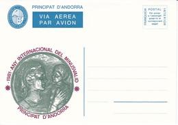 ANDORRA VEGUERIA EPISCOPAL AEROGRAMA - AÑO 1981 - AÑO INTERNACIONAL DEL MINUSVALIDO - Vegueria Episcopal
